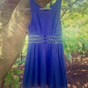 Free People Navy Fitted with Daisies Dress Size 2